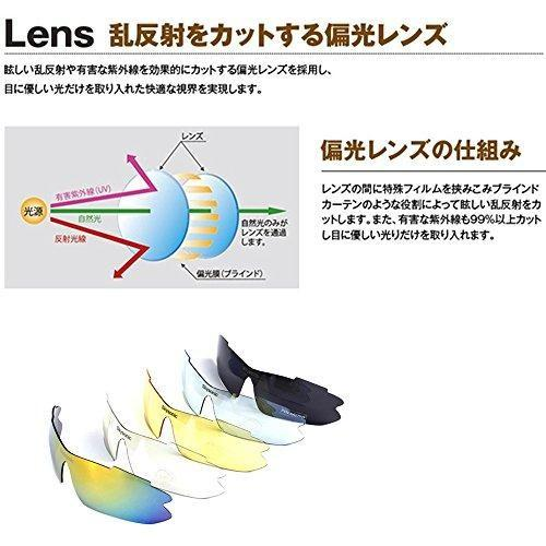 Skysonic スポーツサングラス 偏光レンズ 自転車メガネ uv400紫外線カット 専用交換レンズ5枚 ユニセックス 4カラー (ブラック) heiman 04