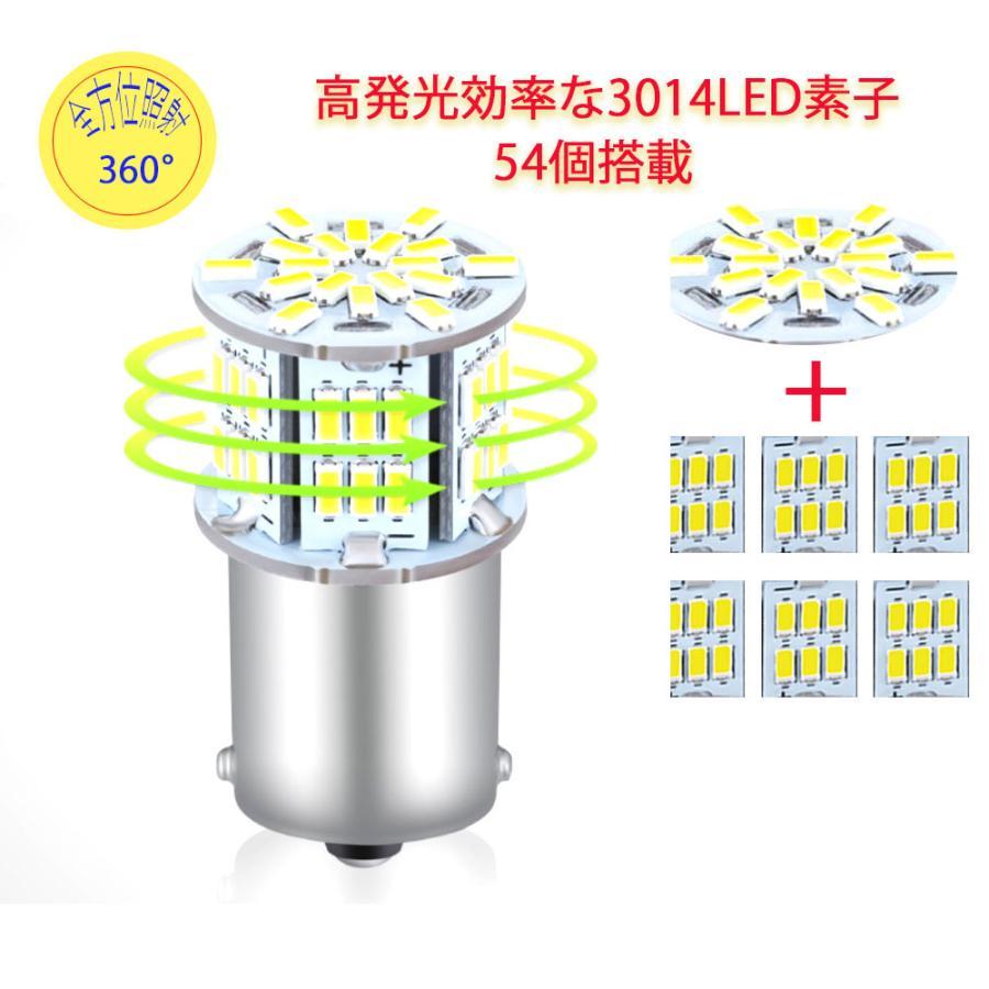 S25 シングル球 12V-24V 超高輝度LED ホワイト ピン角180度 54連 LEDバルブ  車用トラック用品  ウインカー バックランプ 10個セット|heiman|04