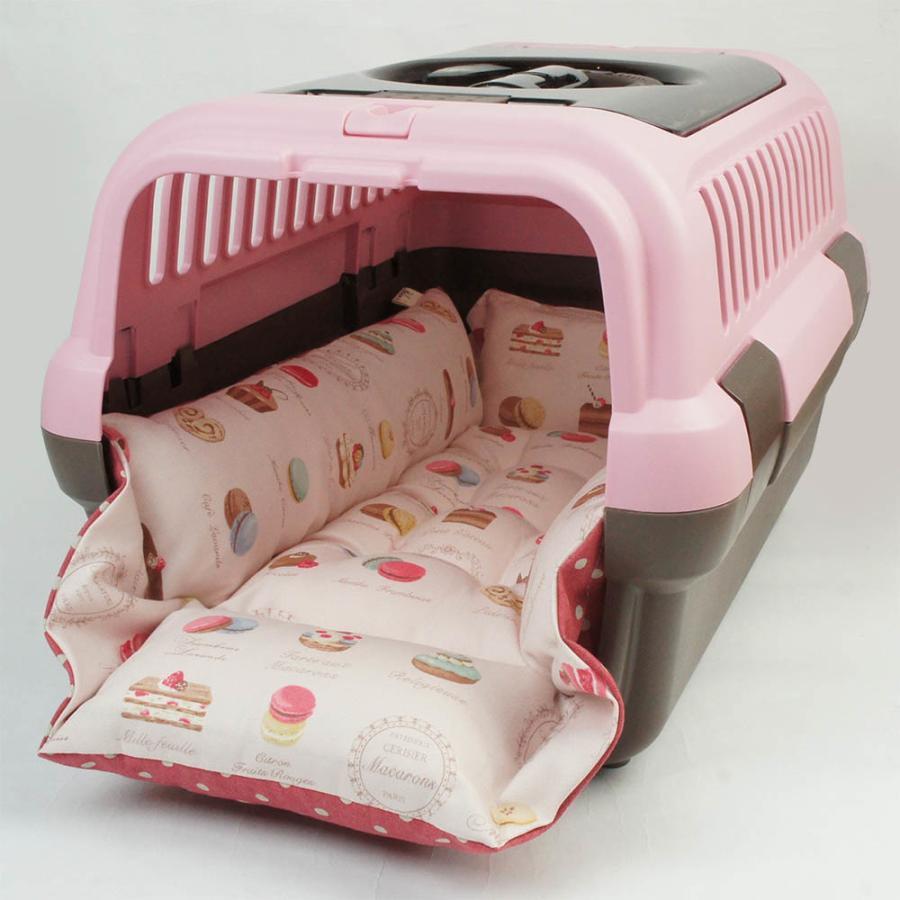 ペットが喜ぶ キャリークッションベッド マカロンピンクドット Sサイズ|helens-petbed|02