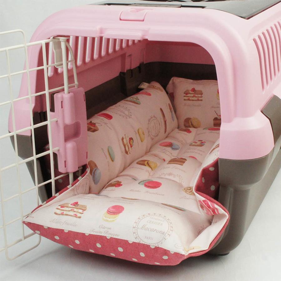 ペットが喜ぶ キャリークッションベッド マカロンピンクドット Sサイズ|helens-petbed|04
