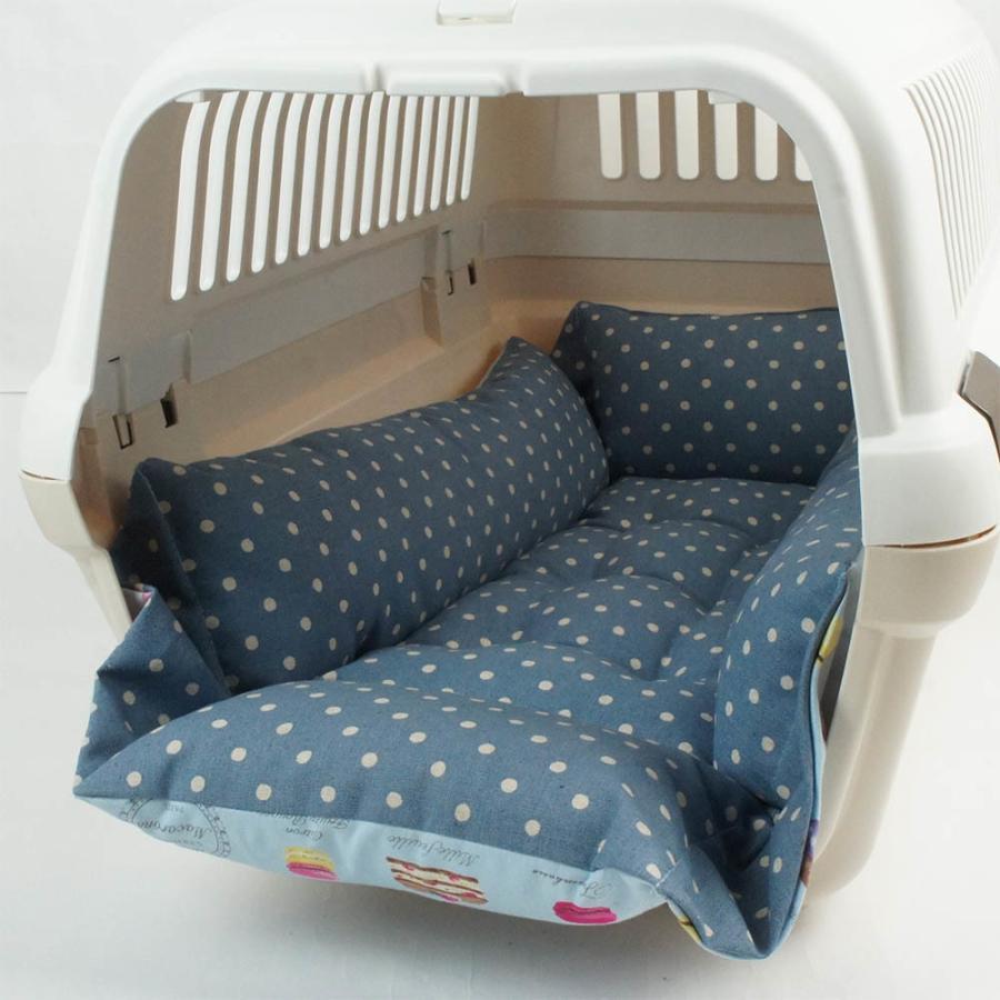 ペットが喜ぶ キャリークッションベッド マカロンブルードット Mサイズ|helens-petbed|03