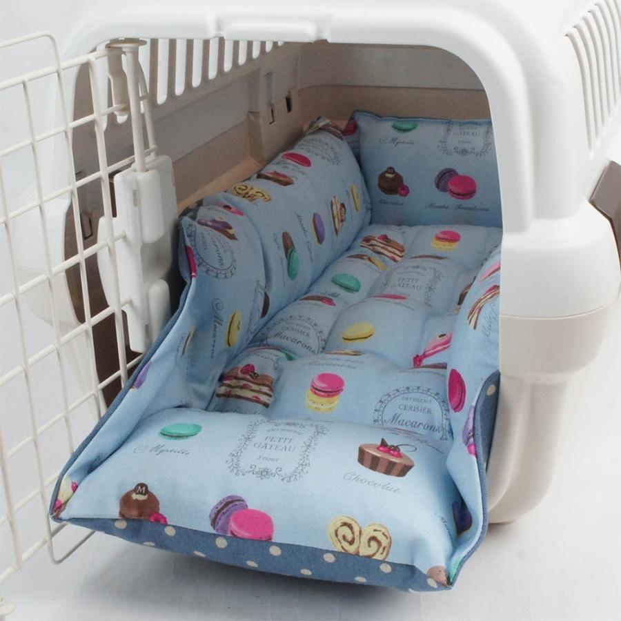 ペットが喜ぶ キャリークッションベッド マカロンブルードット Sサイズ|helens-petbed|02