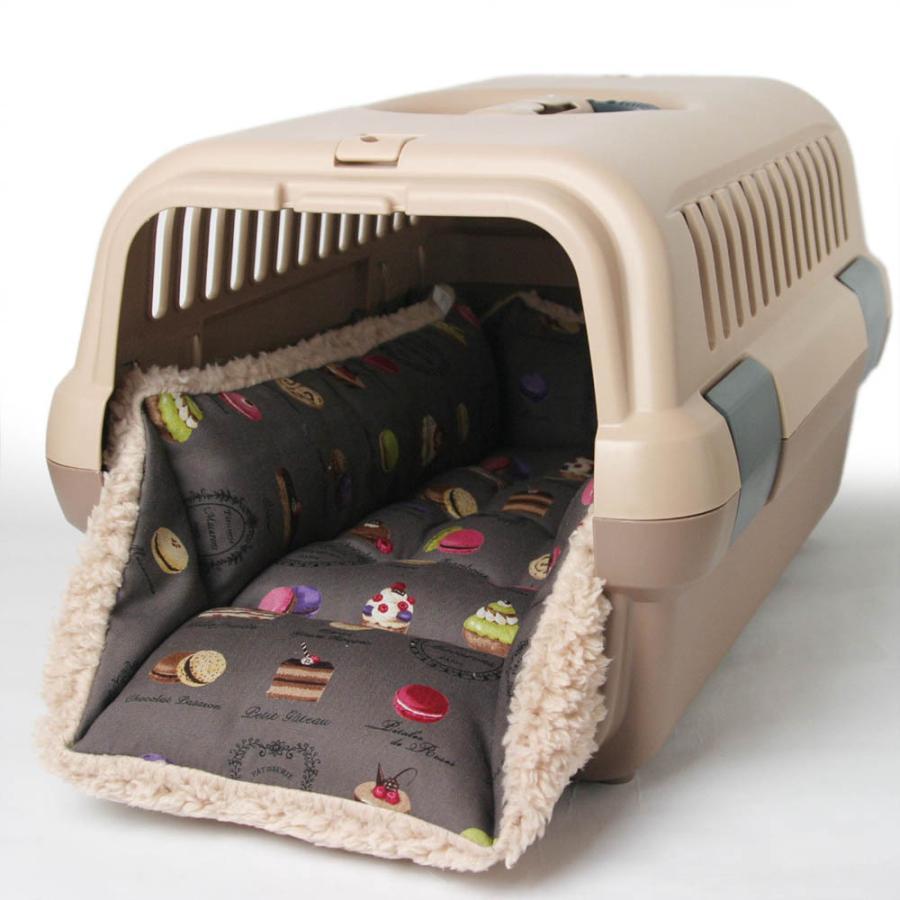 ペットが喜ぶ キャリークッションベッド マカロンチョコファー Sサイズ|helens-petbed|02