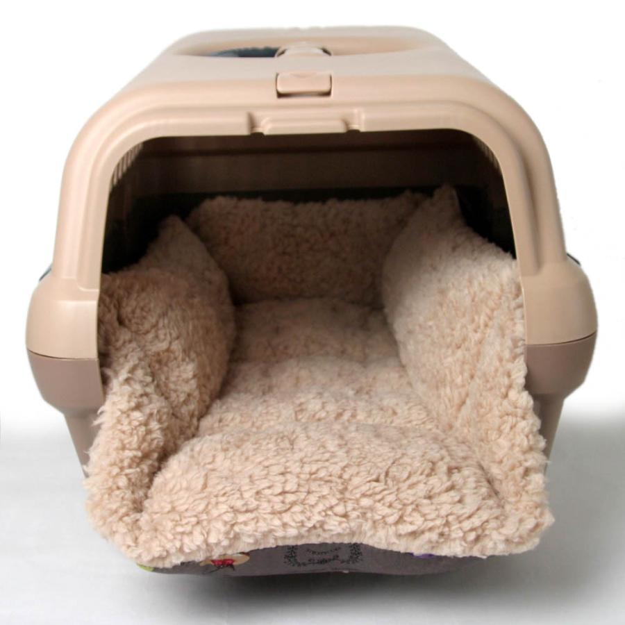 ペットが喜ぶ キャリークッションベッド マカロンチョコファー Sサイズ|helens-petbed|03