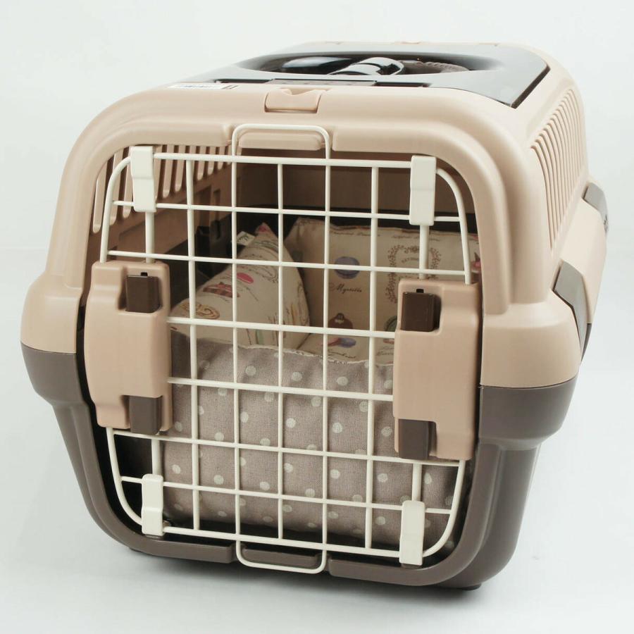 ペットが喜ぶ キャリークッションベッド マカロンベージュドット Sサイズ|helens-petbed|05