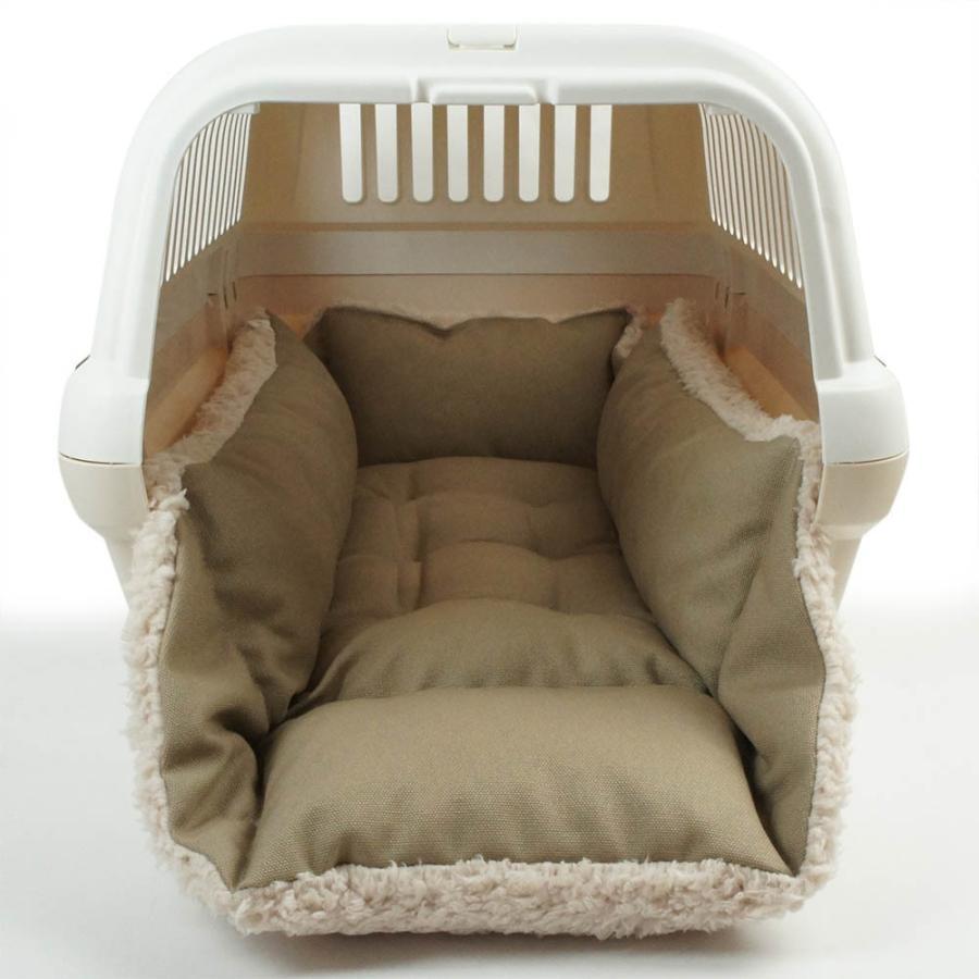 ホリホリ・カミカミ大好きちゃん用 8号帆布生地 キャリークッションベッド モカファー Mサイズ|helens-petbed