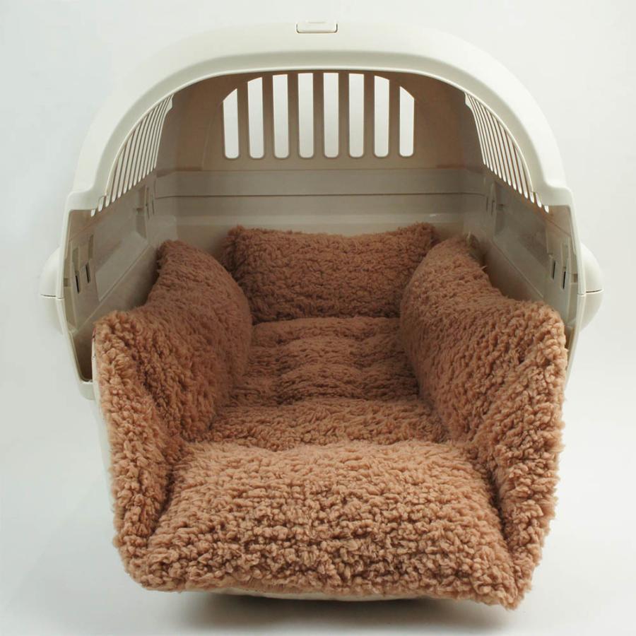 ペットが喜ぶ キャリークッションベッド マカロンベージュファーキャメル Mサイズ helens-petbed 11