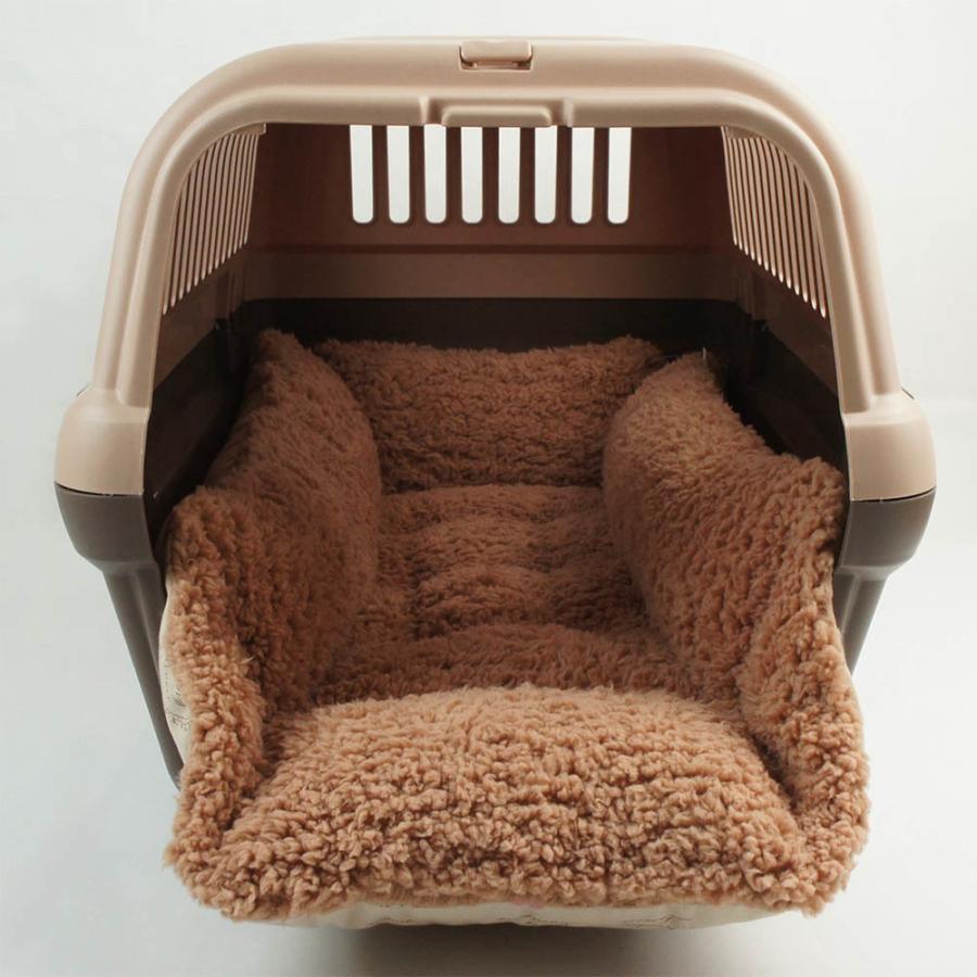 ペットが喜ぶ キャリークッションベッド マカロンベージュファーキャメル Mサイズ helens-petbed 05