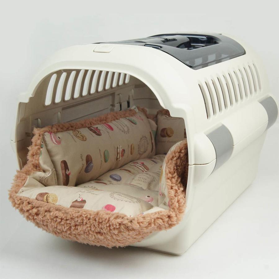 ペットが喜ぶ キャリークッションベッド マカロンベージュファーキャメル Mサイズ helens-petbed 09