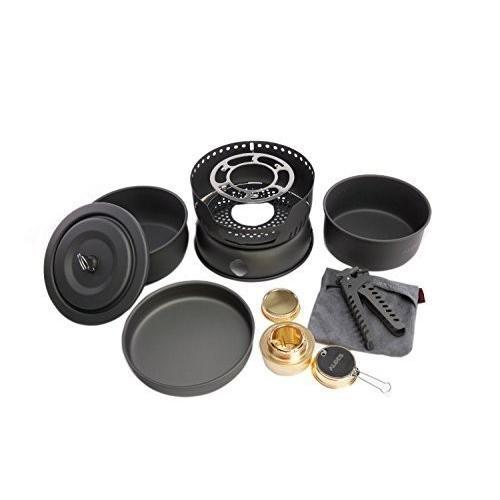 Alocs CW-C05 10個ポータブル屋外キャンプクッキングセット調理器具2-4人のピクニックポットパンアルコールストーブ