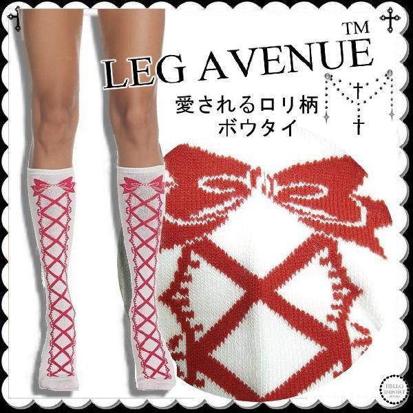 ラスト1枚 LEG AVENUE ソックス 靴下 リボン柄 ロリータ インポート クリックポスト送料無料 /wosx026 hello-import