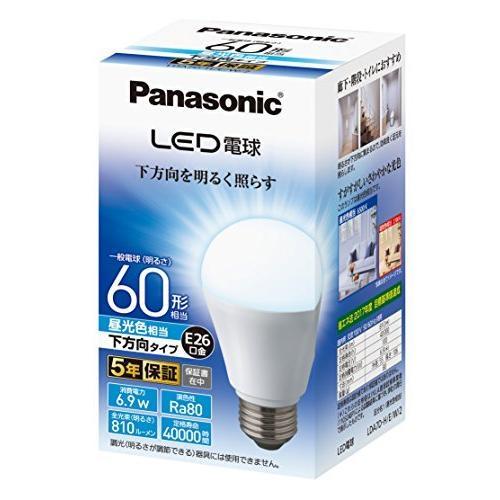 パナソニック LED電球 口金直径26mm 電球60形相当 昼光色相当(6.9W) 一般電球 下方向タイプ 1個入り 密閉器具対応 LDA7|hellodolly