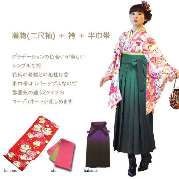 着物 ぼかし 袴 3点 セット 二尺袖 女性 卒業式 袴セット はかま フルセット 半巾帯 付 販売 購入 大学 hesaka 02