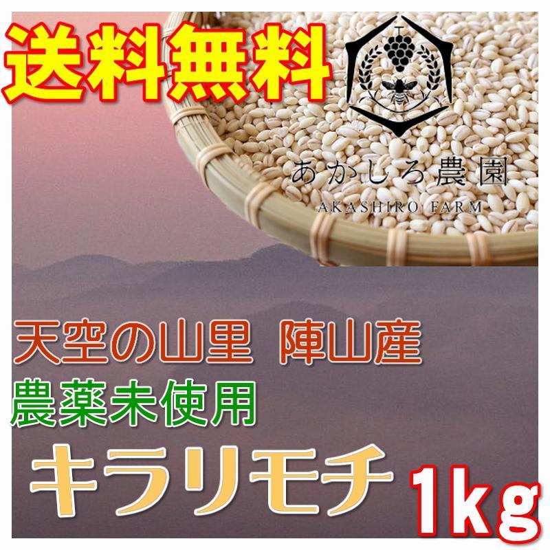 もち麦 氷温熟成 キラリモチ 1kg 農薬未使用 天空の山里 陣山あかしろ農園産|hey-com-bicchu