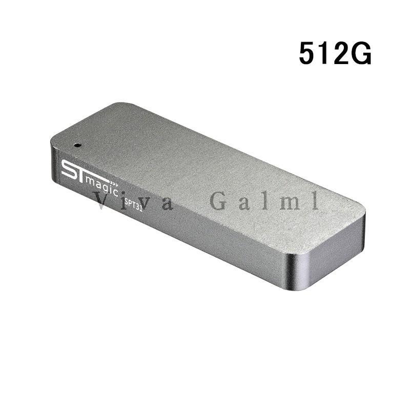 USBフラッシュメモリ Portable Solid State USB Flash Memory MiniPSSD 512G USB3.1 ケーブル一体型 ボータブル PSSUSB003