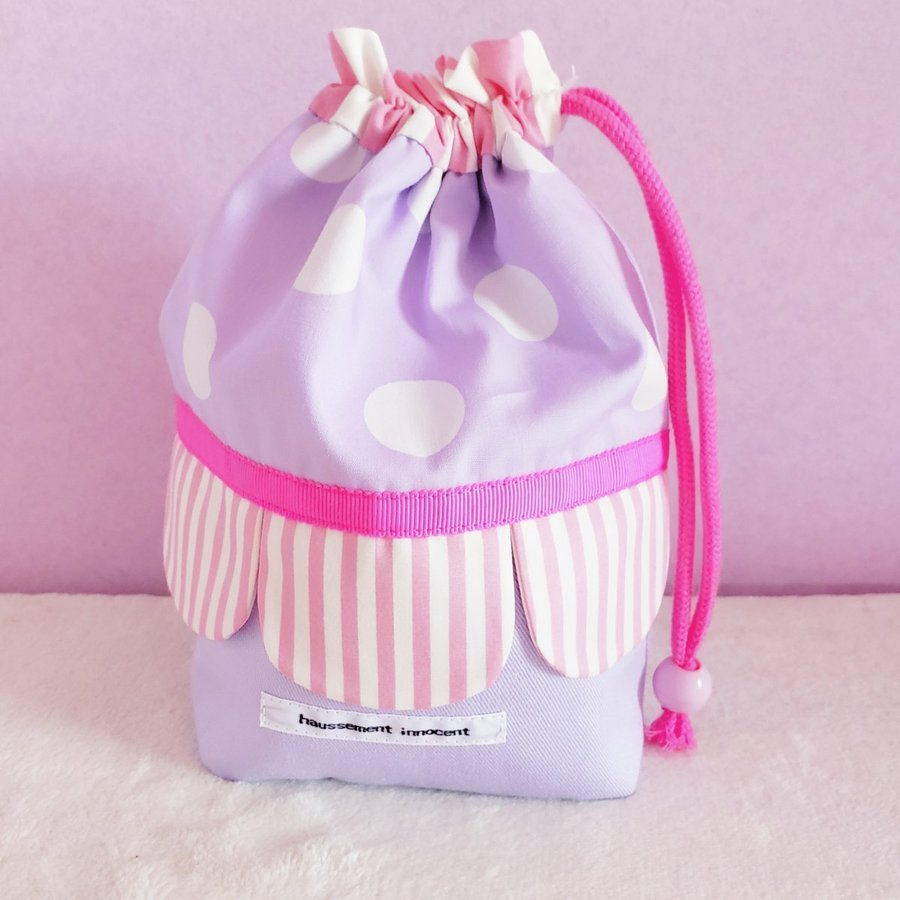 スカラップのコップ歯ブラシ袋  pink×purple サイズ変更可能 ポスト投函送料無料|hi-inari|02