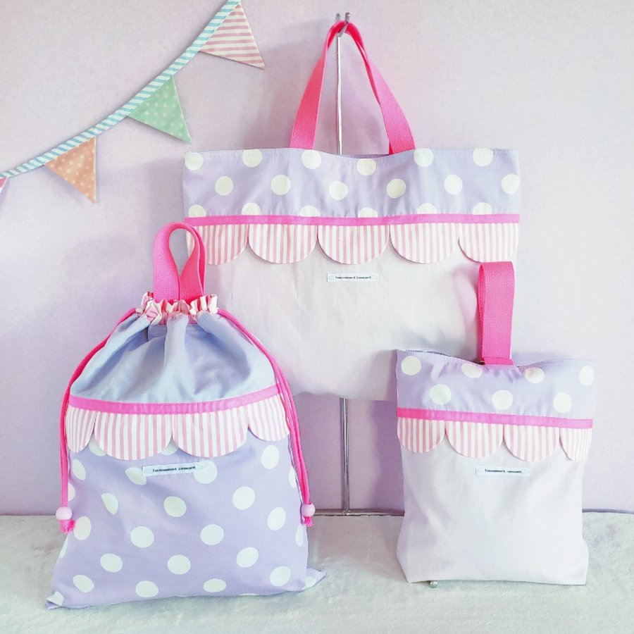 スカラップのコップ歯ブラシ袋  pink×purple サイズ変更可能 ポスト投函送料無料|hi-inari|07