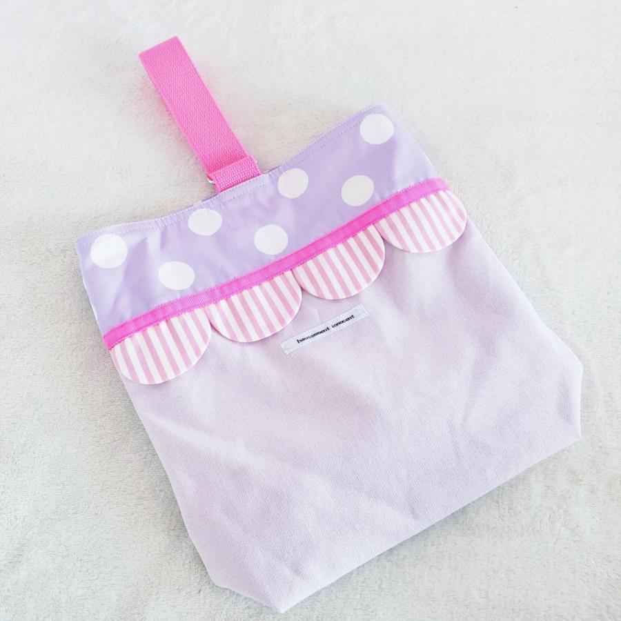 【3点セット】帆布とスカラップの●レッスンバッグ●シューズケース●体操服入れ pink×purple サイズ変更可能|hi-inari|11