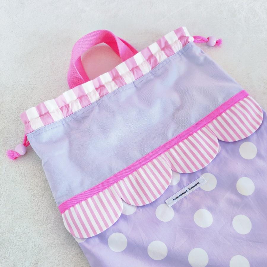 【3点セット】帆布とスカラップの●レッスンバッグ●シューズケース●体操服入れ pink×purple サイズ変更可能|hi-inari|08