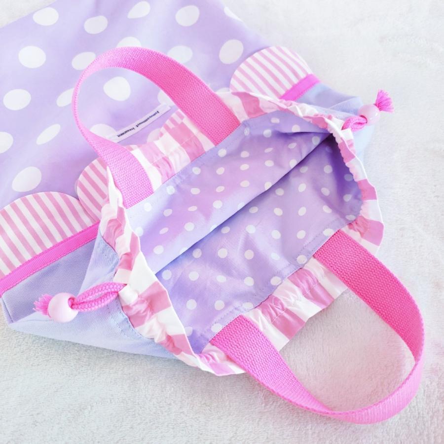 【3点セット】帆布とスカラップの●レッスンバッグ●シューズケース●体操服入れ pink×purple サイズ変更可能|hi-inari|09