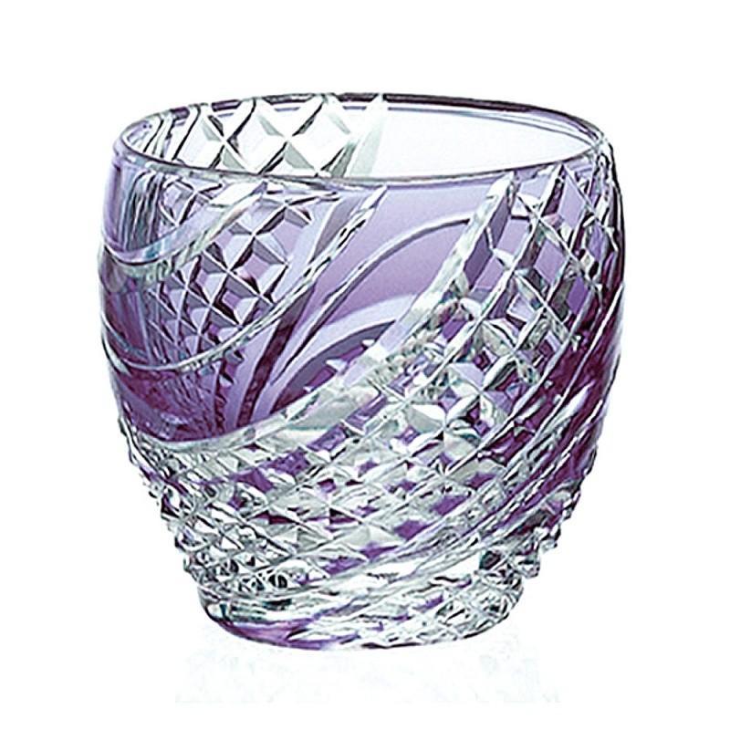 ( カガミクリスタル / ガラス ) 江戸切子 冷酒杯 紫 ( 魚子流し 紋 T535-2044-CMP ) 切り子 クリスタル 冷酒グラス
