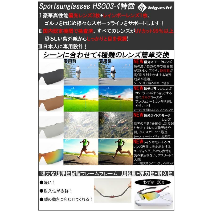 サングラス スポーツサングラス 偏光 サングラス スポーツ UVカット メンズ レディース ゴルフ サイクリング 野球 HSG03-4|higashi-corp|06