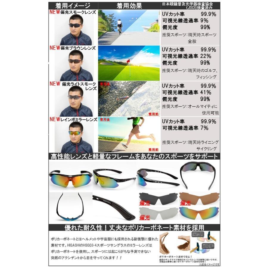 サングラス スポーツサングラス 偏光 サングラス スポーツ UVカット メンズ レディース ゴルフ サイクリング 野球 HSG03-4|higashi-corp|08