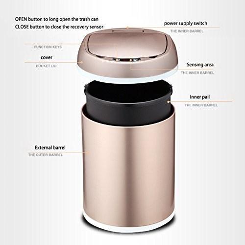 自動誘導インテリジェントキッチンごみは、省エネリビングルームステンレス鋼の描画豪華な充電式ごみ箱を節約することができます (サイズ : 8l)