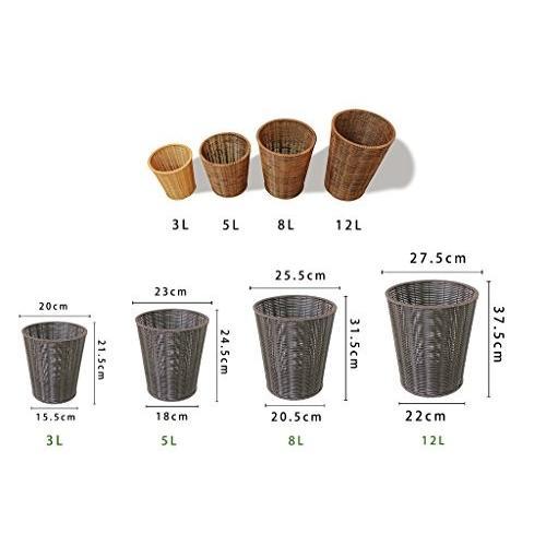 QFF カバーなしゴミ箱、籐製織り収納バスケット収納バスケットベッドルーム居間オフィスゴミ箱家庭用ゴミ箱ペーパーバスケット3-12L 便利な便利