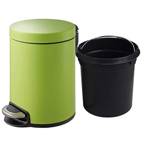 ごみ箱ホームステンレススチールペダルファッションクリエイティブフリップスモールラージミュートゴミ箱 (容量 : 5L, 色 : 緑)