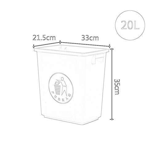 CSQ 室内ゴミ箱、20L家庭用バスルームキッチンプラスチックゴミ箱矩形カバー無しゴミ箱33 * 21.5 * * * 35CM アウトドア (色 : 青) 952
