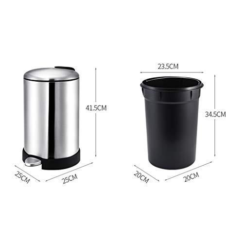 ごみ箱 ステンレス鋼のペダルゴミ箱家庭用トイレキッチン (色 : シルバー しるば゜, サイズ さいず : 12l)