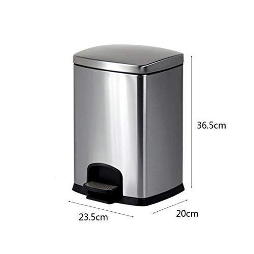 ごみ箱 ステンレススチールゴミ箱ペダルフットホームキッチンバスルーム (色 : シルバー しるば゜, サイズ さいず さいず さいず : 8l) 5d9