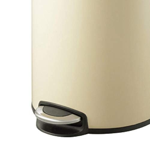 ごみ箱ホームステンレススチールペダルファッションクリエイティブフリップスモールラージミュートゴミ箱 (容量 : 5L, 色 : ベージュ)
