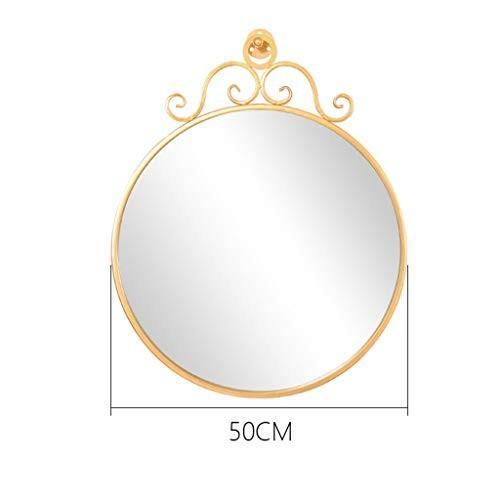 CSQ ゴールド装飾鏡、リビングルームレストランバスルームのメイクアップミラー鉄のアートラウンドクリエイティブウォールマウントミラー