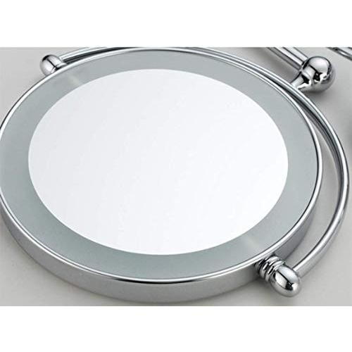 FOTEE LED メイクアップミラー 壁取り付け 8インチ 両面ミラー 調節可能なバニティミラー シェービングミラー 5X