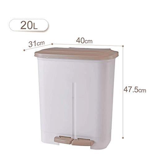 FJH ゴミ箱 ダブルライナー20Lごみ箱ホームリビングルームベッドルームペダルタイプ(蓋付き)ごみ箱ダブルライナーデザイン