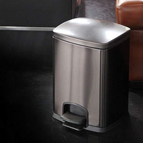 ステンレス鋼のゴミ箱、サイレントペダルホームキッチンカバー収納バケツ12 L (色 : 黒 ゴールド)