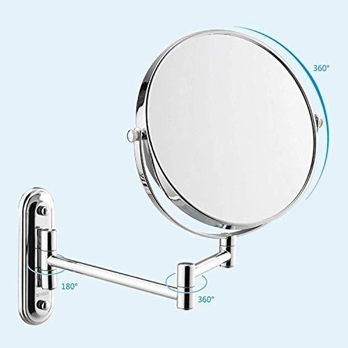 折りたたみ伸縮バスルーム美容ミラー付き3倍拡大鏡化粧台化粧鏡両面ラウンドミラー化粧鏡6/8インチシルバー (サイズ さいず : 6 inches) inches)