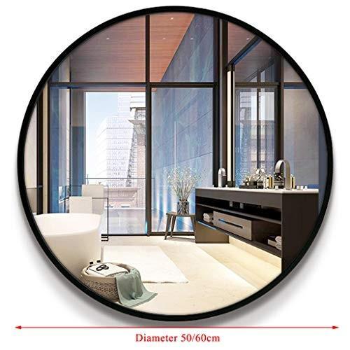 丸壁掛けミラー、メタルフレーム装飾ミラー、廊下に最適、リビングルーム、ベッドルーム(直径50 / / 60cm、ブラック)