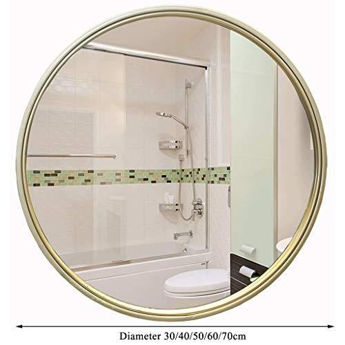 丸壁掛けドレスミラー、金属製装飾ミラー、廊下に最適、リビングルーム、ベッドルーム(直径30-70cm、金色)