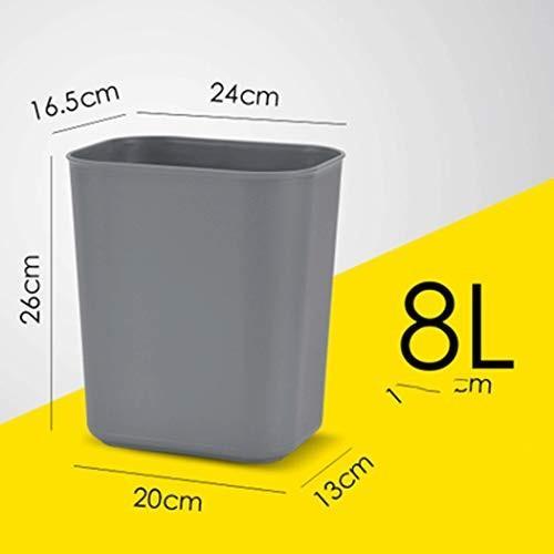 難燃性ゴミ箱はホテルの部屋収納バレルオフィスバスルーム寝室広場ラウンド厚いカバーなし (色 : : : グレイ ぐれい, サイズ さいず : 8L) dde