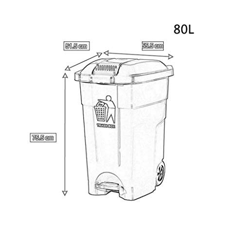 C-J-Xin 屋外ゴミ箱、多目的ゴミ箱モール大容量ゴミリサイクルゴミ箱はゴミ箱に移動できます容量80L ペダル式ゴミ箱 (色 : 緑)