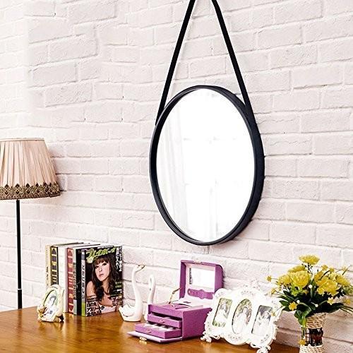 化粧鏡ノルディックラウンド壁掛けトイレトイレミラー壁の装飾メイクアップハンギングミラー (Size (Size : 40cm)