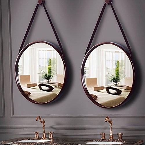 化粧鏡ノルディックラウンド壁掛けトイレトイレミラー壁の装飾メイクアップハンギングミラー (Color : 褐色, Size : 50cm)