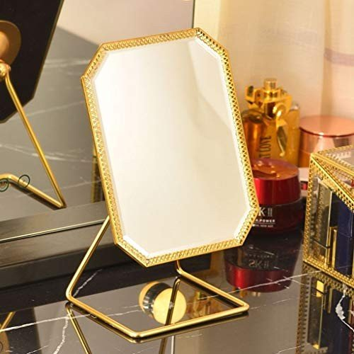 Miaoliangliang 金属製卓上化粧鏡真ちゅう鏡付き180°回転ドレッサー/ベッドルーム/バスルームパーソナルミラー15X19cm(ゴールド)