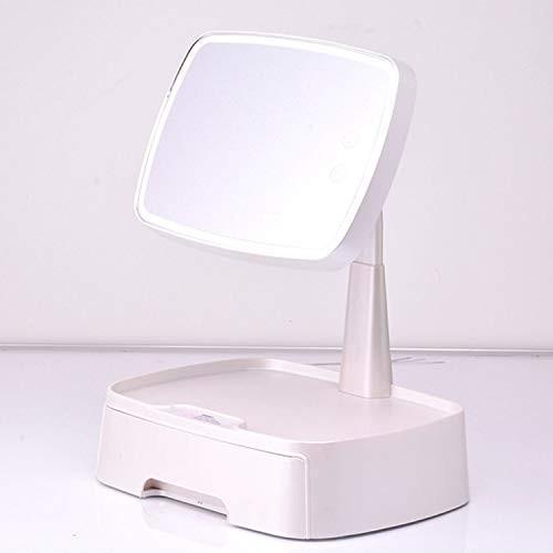 メイクアップミラー、テーブルランプ、充電ミラー、ライト付きLEDバニティミラー、ストレージストレージドロワー 白い 白い