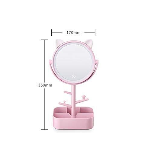 ROLLHZZ オーガナイザーベースの化粧台ミラー、化粧鏡の3スピード調光、ポータブルテーブルカウンターバスルーム オーガナイザーベースの化粧台ミラー、化粧鏡の3スピード調光、ポータブルテーブルカウンターバスルーム