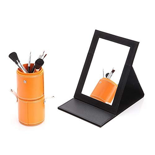 Miaoliangliang スタンド付きPVC製ポータブル折りたたみ化粧鏡、(ブラック:2サイズ) スタンド付きPVC製ポータブル折りたたみ化粧鏡、(ブラック:2サイズ) (Color : 300*212mm)