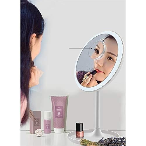 化粧鏡 5倍の倍率ミラー付きUSB充電式卓上LED照明付き化粧化粧鏡タッチコントロール360°回転照明化粧品ミラー (色 : 白, 白, サイズ :